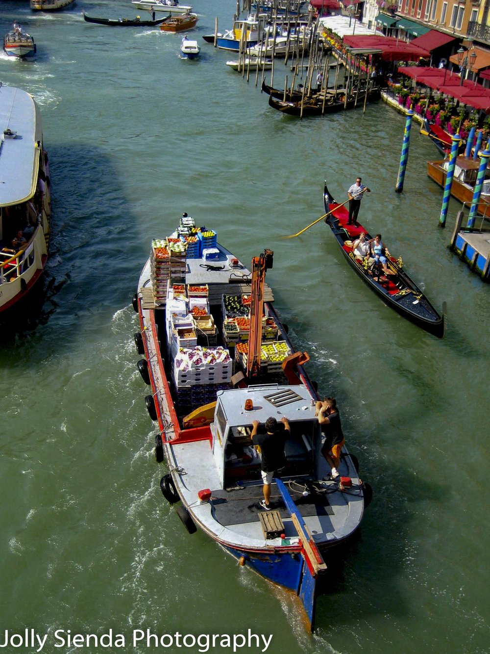 Barges and Gondolas on the Grand Canal