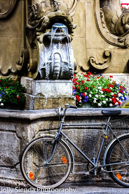 Bike Leans Against a Serpent, Stone Water Fountain