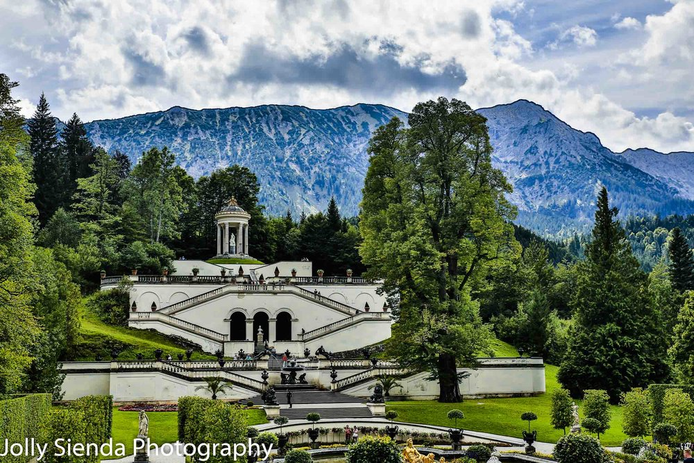 Gardens, statues, and fountains at Linderhof Castle, Bavaria, Ge
