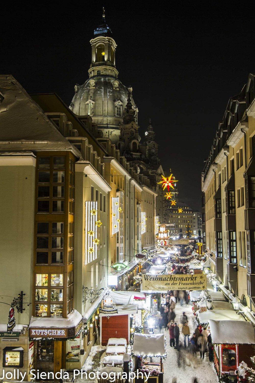 Dresden Christmas Market, Weihnachsmarkt,  with the Ladys Church