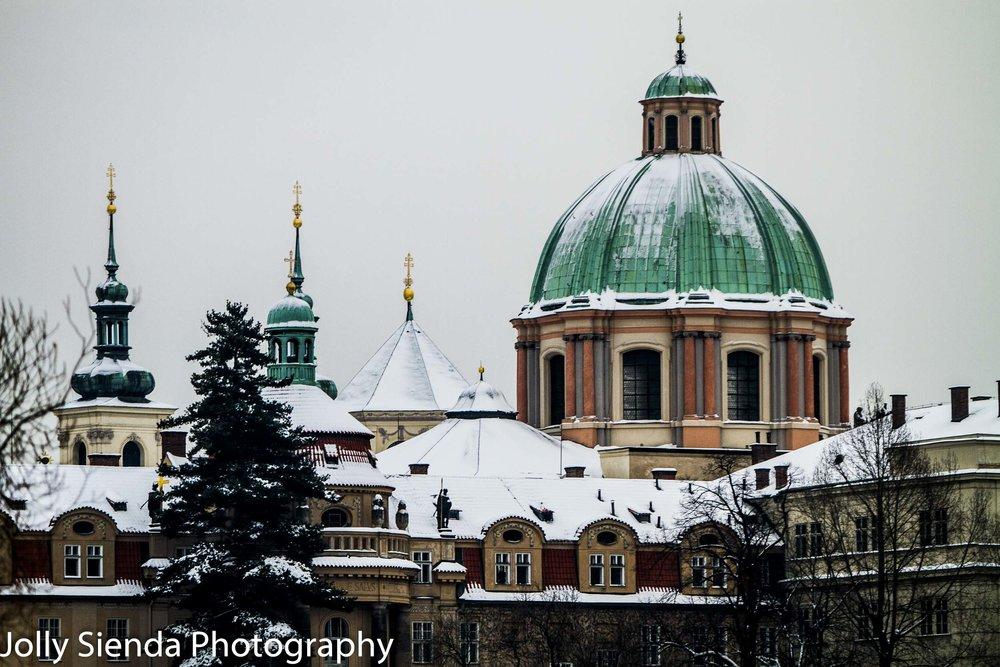 Snow covered St. František z Assisi Church in Prague