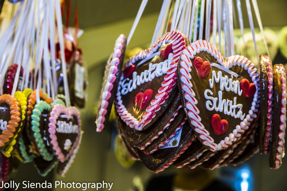 German Beer Festival frosted, hanging,  gingerbread love hearts