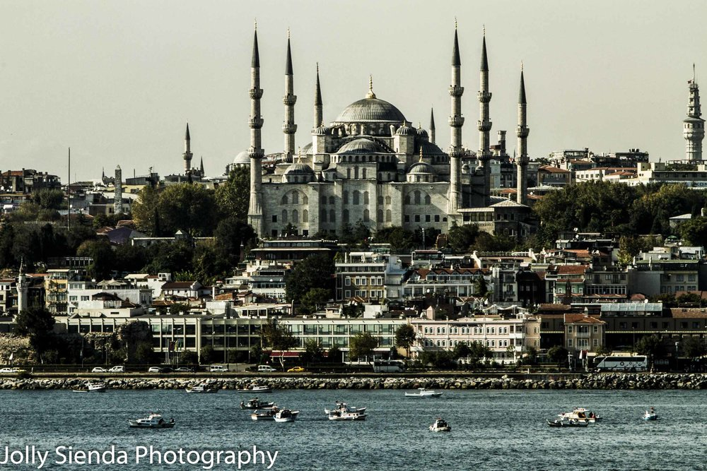 Blue Mosque and boats on the Bosphorus