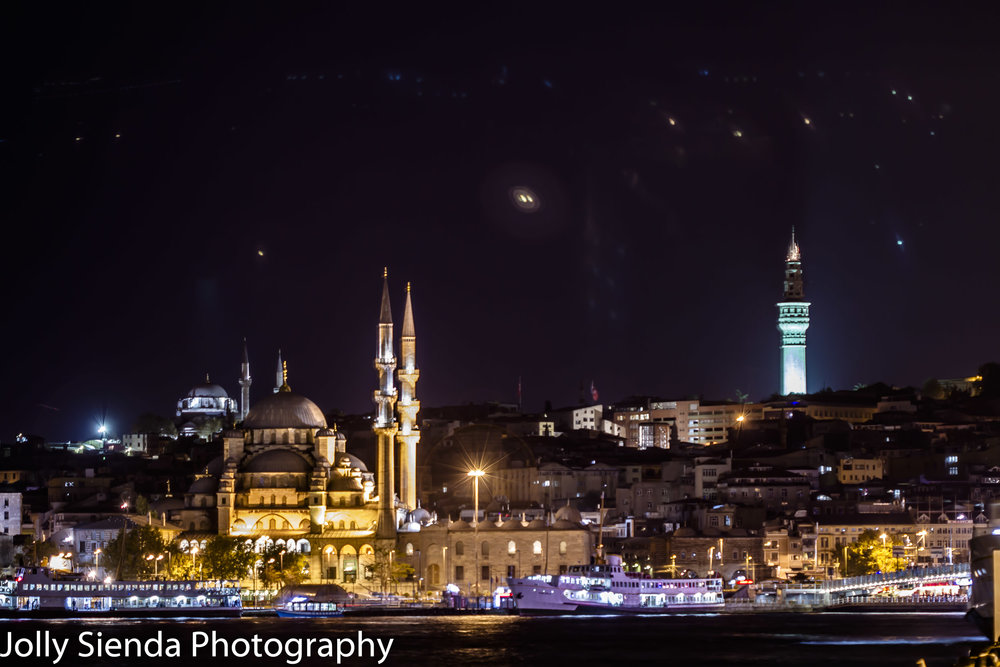 Istanbul and the Blue Mosque with night lights