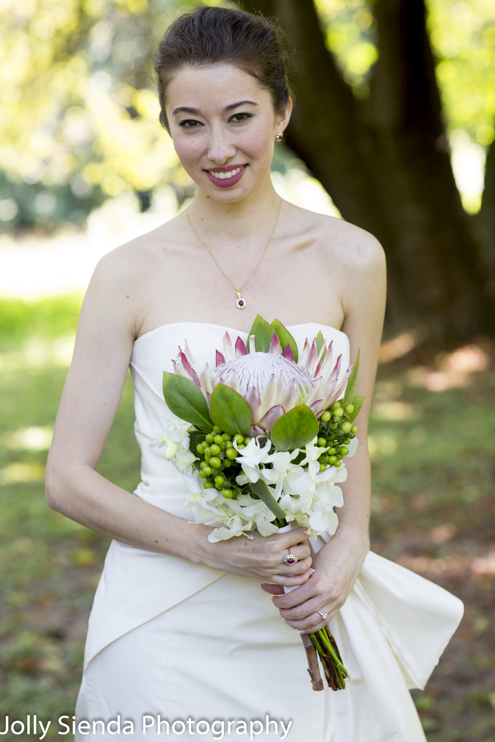 Portrait of a beautiful bride with her bouquet
