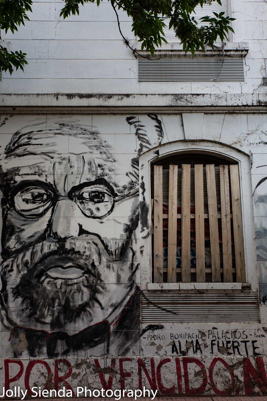 Pedro Bonifacio Palacios, Argentine Poet, graffiti wall