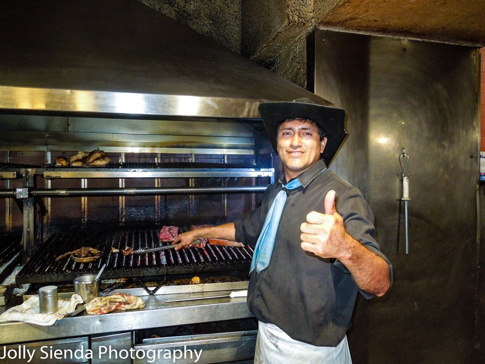 Cooking steaks in Argentina. Did you know, people in Argentina eat more meat and steaks than anywhere in the world? We thought the steaks were delicious!