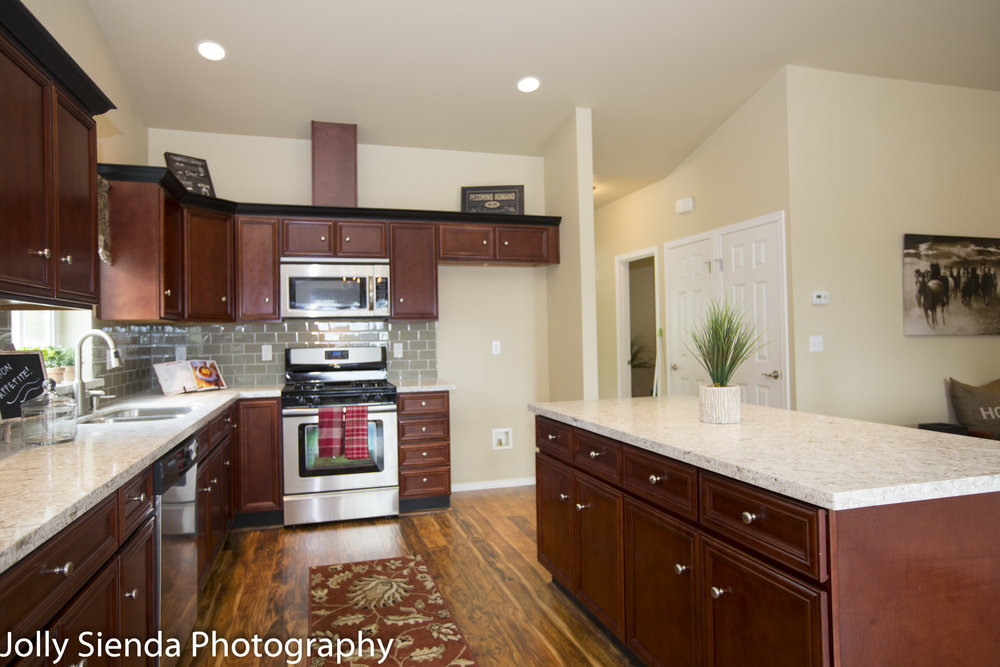 Kitchen, stainless appliances, and an island