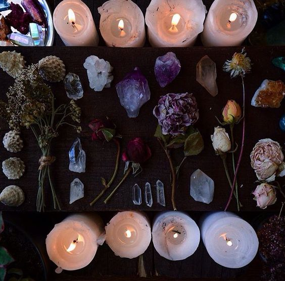 candle and dried flower goals | source unknown