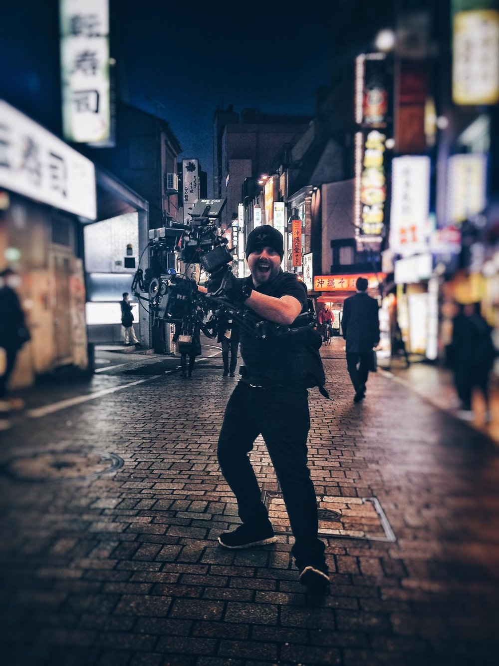 Chris McKechnie on location in Tokyo.