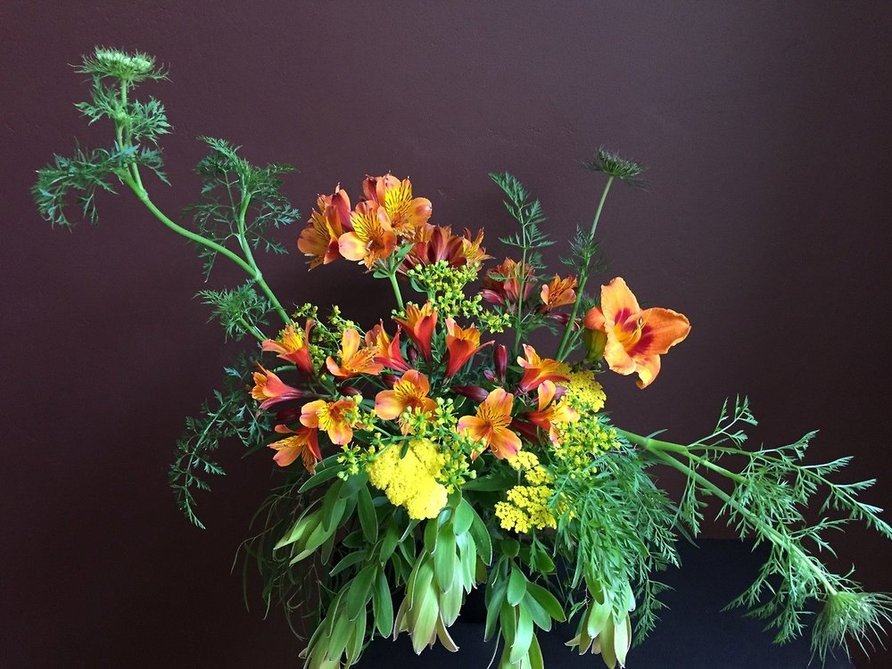 Bolting carrot greens were the start of this bouquet of my garden flowers.