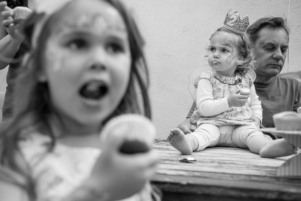 Birthday girl eating cupcake  - Mountain View Family and Birthday Party Photography