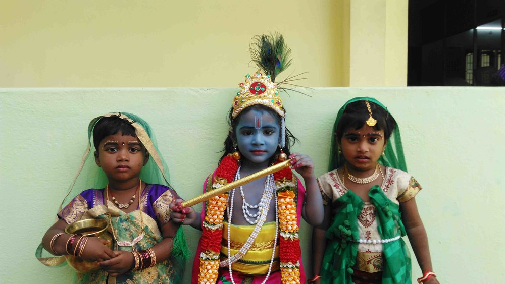 Lord Krishna's Birthday - GPSS Kids as Lord Krishna and his friends.jpg
