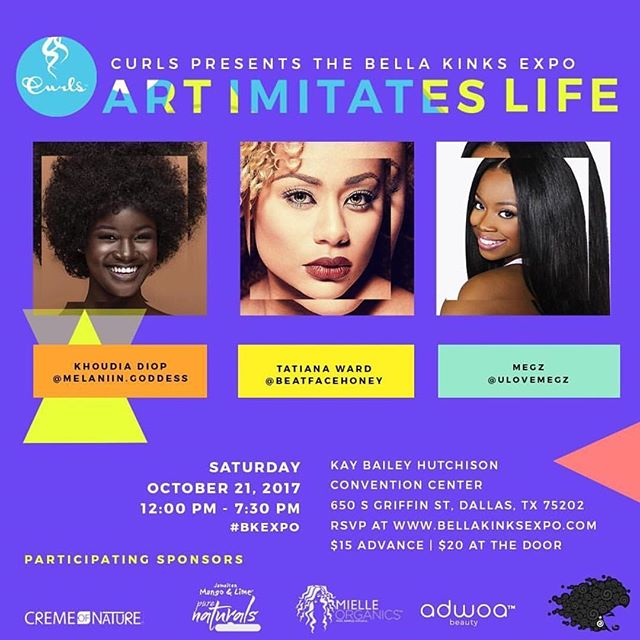 If you are in #Dallas this weekend make sure you check out @bellakinksexpo featuring @melanin.goddess @beatfacehoney @ulovemegz and you get to interact with awesome #naturalhair brands