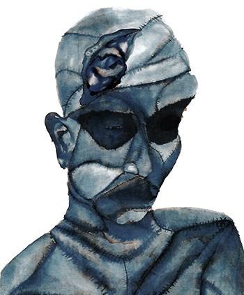 'Frankenstein Sad Blue'  Lydia Chrysanthou  - pen ink and brush