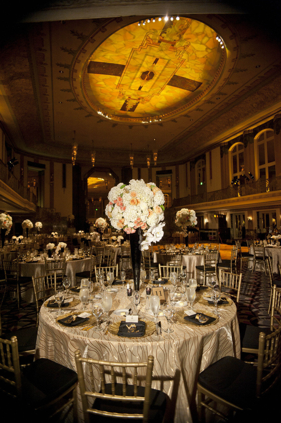 Art Deco Wedding & Reception at Netherland Plaza with Florals by Yellow Canary Event & Floral Design