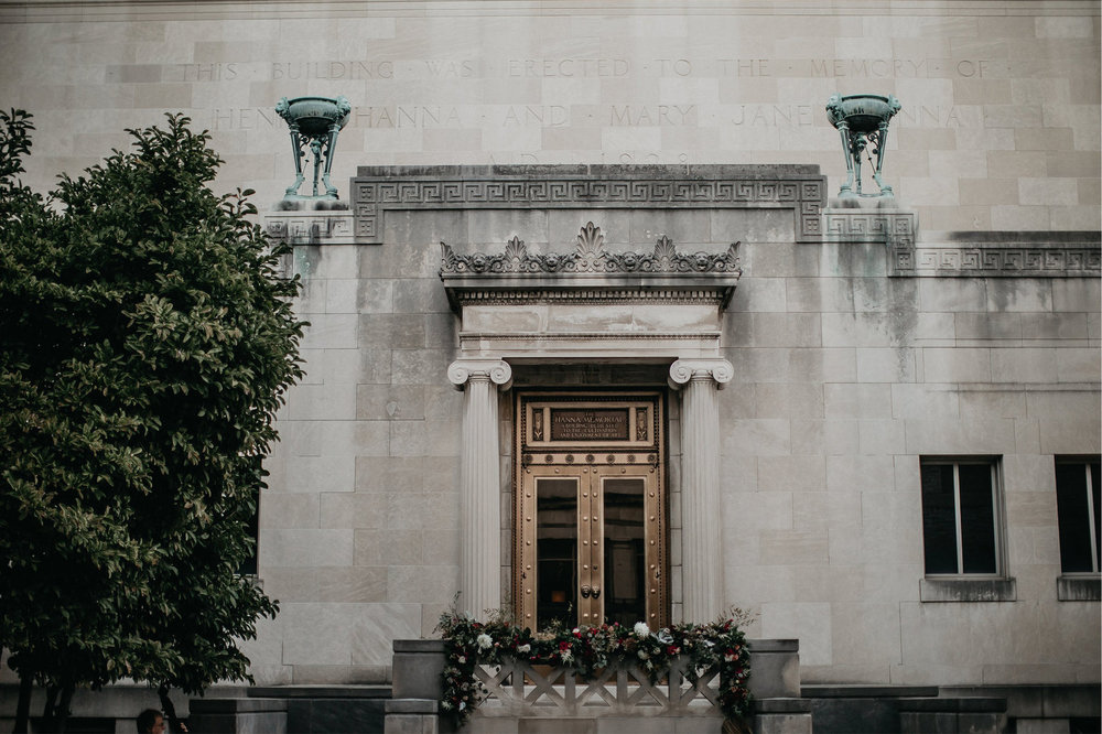 Cincinnati Art Museum wedding with florals by Yellow Canary Floral & Event Design. Yellow Canary is located in historic Covington, KY. Photo: Nicole Leone Photography