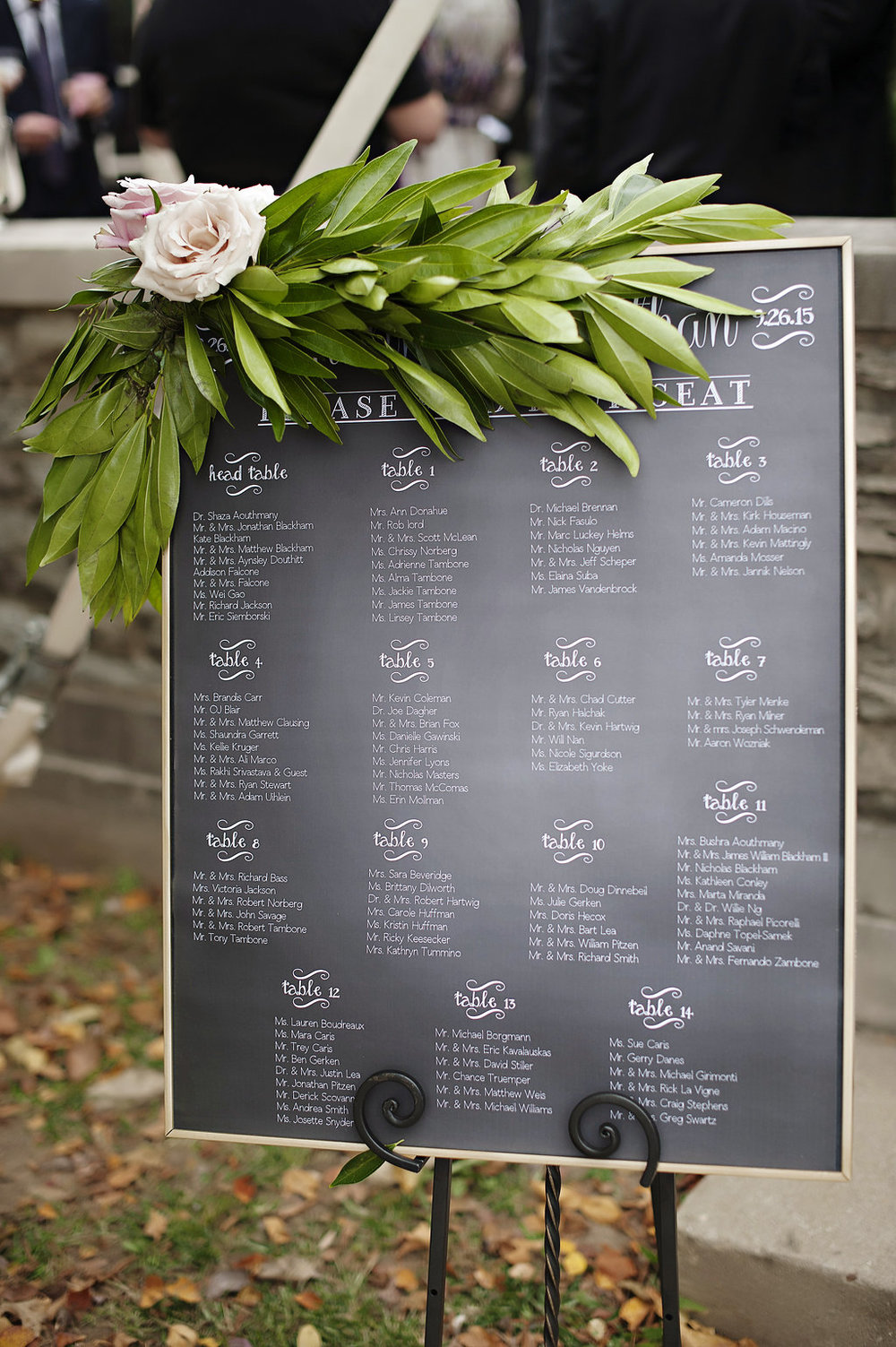 Outdoor summer wedding in neutrals with custom chalkboard seating chart and floral spray. Floral design by Yellow Canary Floral and Event Design. www.yellowcanaryonline.com