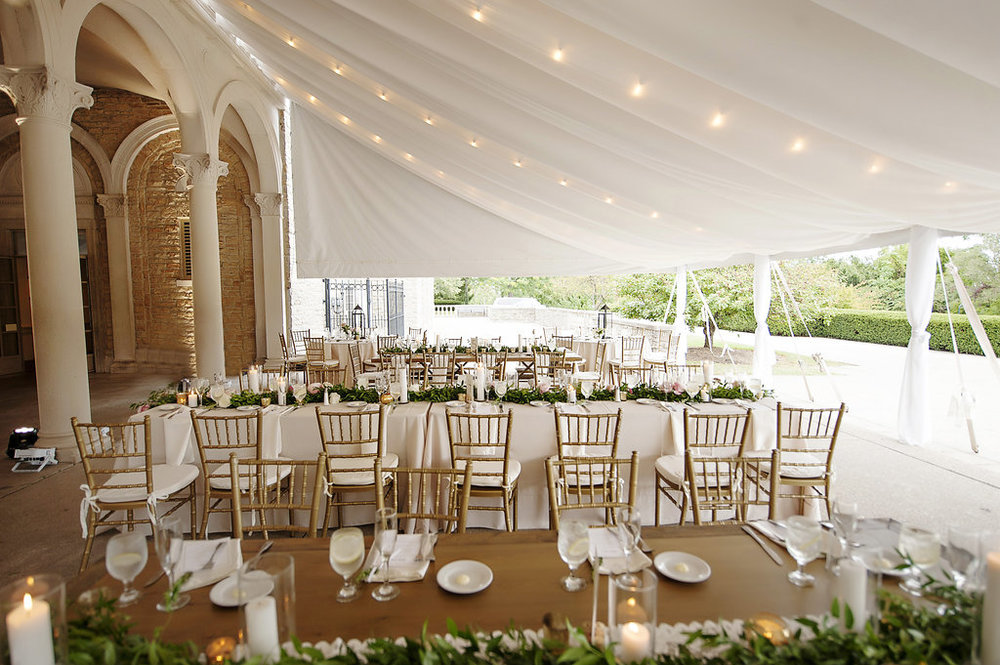 Outdoor summer wedding in neutrals with living floral runner by Yellow Canary Floral and Event Design. www.yellowcanaryonline.com