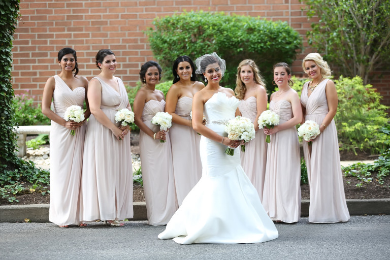 Bridesmaids in blush for a summer wedding in Cincinnati at The Center with florals by Yellow Canary Floral and Event Design