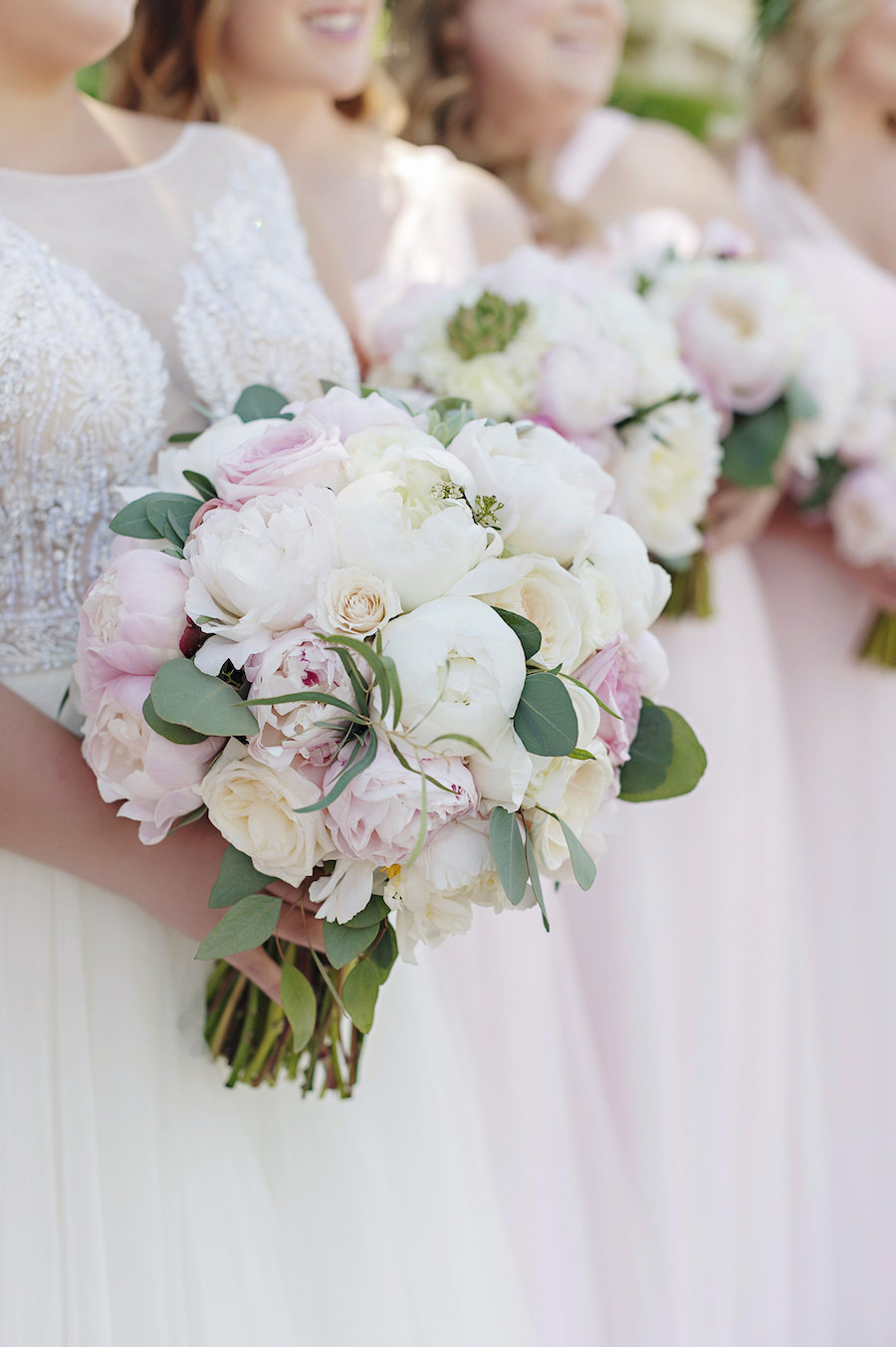 Pink and white bridesmaids bouquet for outdoor summer wedding at Smale Riverfront Park in Cincinnati