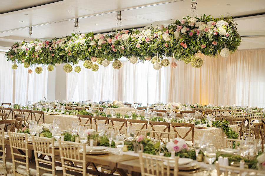Hanging florals for Anderson Pavilion wedding in Cincinnati. Florals by Yellow Canary.
