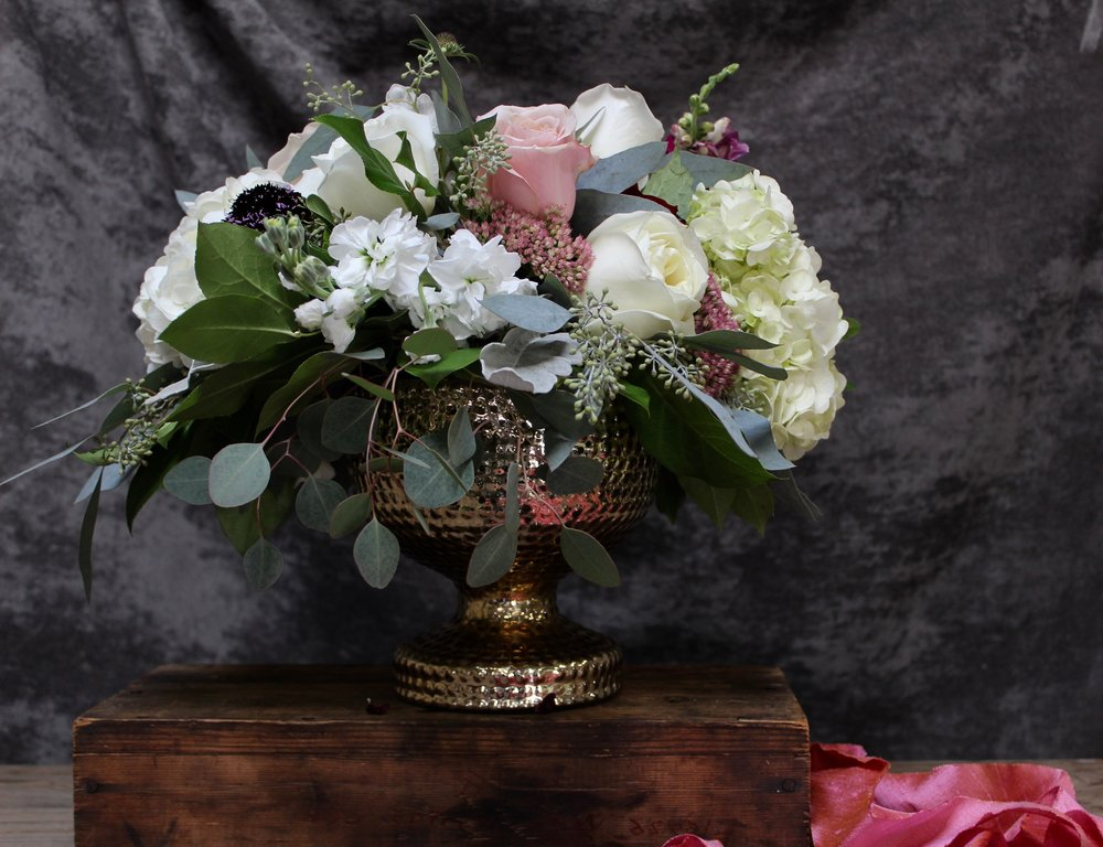 Florals by Yellow Canary for a late summer wedding with garden roses