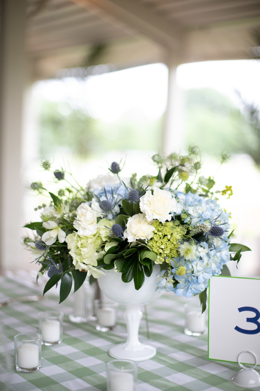 Colorful summer party with white and blue florals. Floral design www.yellowcanaryonline.com
