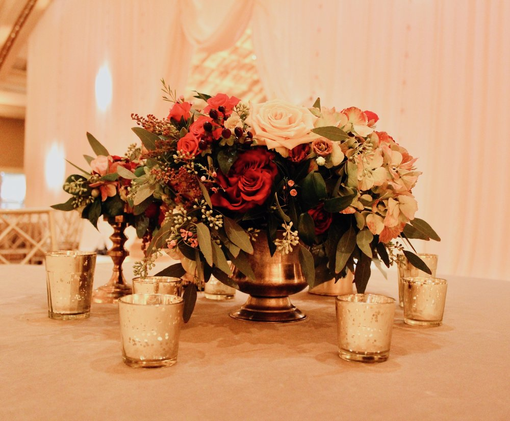 Winter wedding with rich jewel tones and blush. Florals by Yellow Canary. www.yellowcanaryonline.com