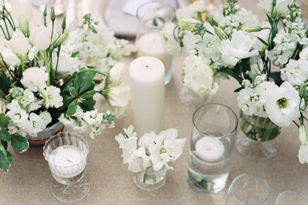 Candles, greens and bright whites