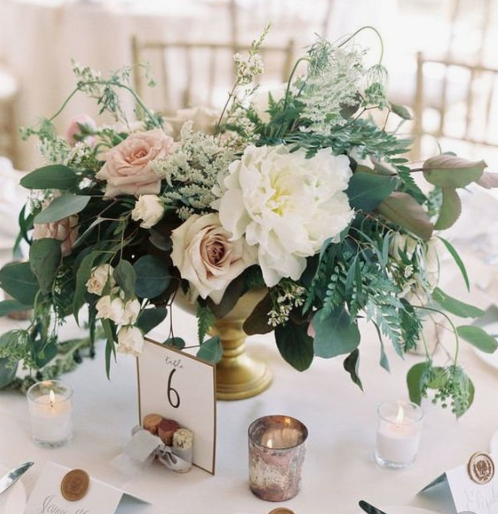 Low centerpieces in gold vessels with votives