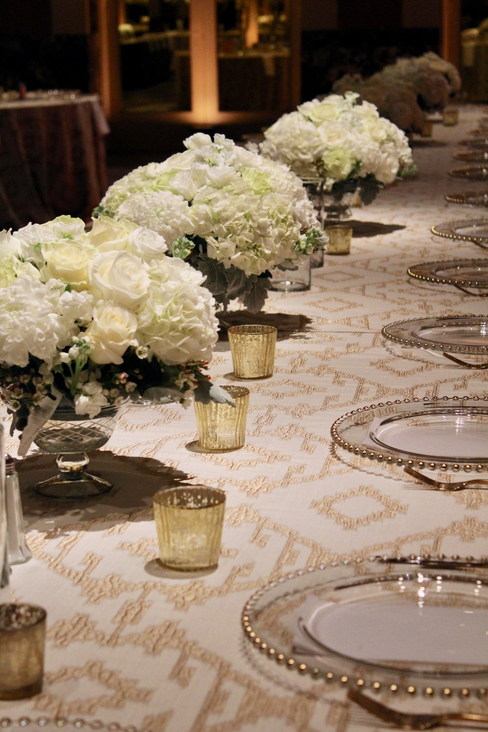 Head table at Hall of Mirrors wedding reception