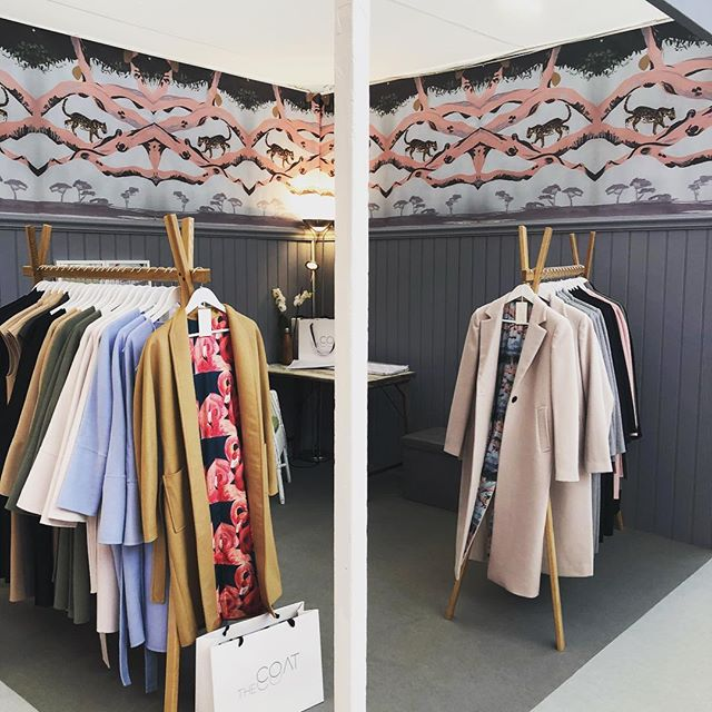 All set up and ready for The Spirit of Christmas!  Come see us at stand N45! @spiritfairs #spiritofchristmas #cashmere #cashmerecoats #coats