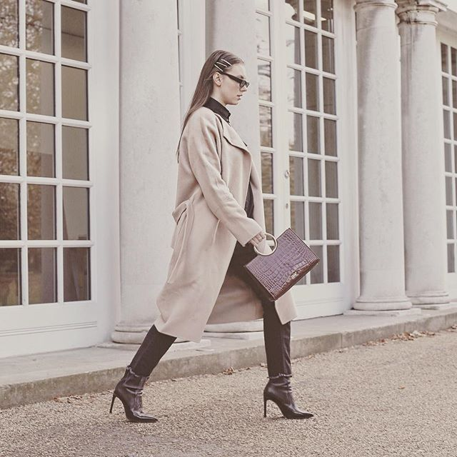 @stilettoshades Showing us how to rock Camel this winter!  Pictured is our Stephanie double faced Cashmere Coat in Camel. #cashmerecoats #coats #cashmere #winterfashion
