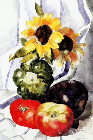 """- Haskell, Barbara. Charles Demuth. New York: Whitney Museum of Art. 1987. Available from the Internet Archive here. The title of the painting that I am including in this post (partial) is """"From the Kitchen Garden."""" The topics of his paintings included other topics too….a snapshot of different perspectives of the US and Europe in the first thirds of the 1900s."""