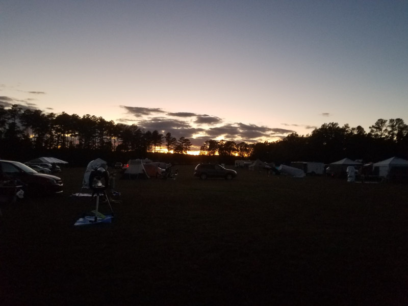 - Most of the action at a star party is in the dark…but there are a few daylight activities as well. The sunset on the first night was scenic – with a few clouds near the horizon and tree line.