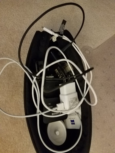 - And a zipper case to contain the charging cables – phone, iPad, Fitbit, toothbrush, laptop.