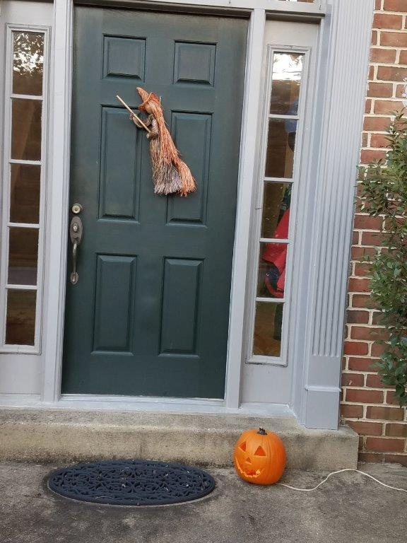 - My husband and I remembered to put our Halloween decorations out yesterday….and we'll take them back in tomorrow. Both the witch and the pumpkin are about 20 years old!