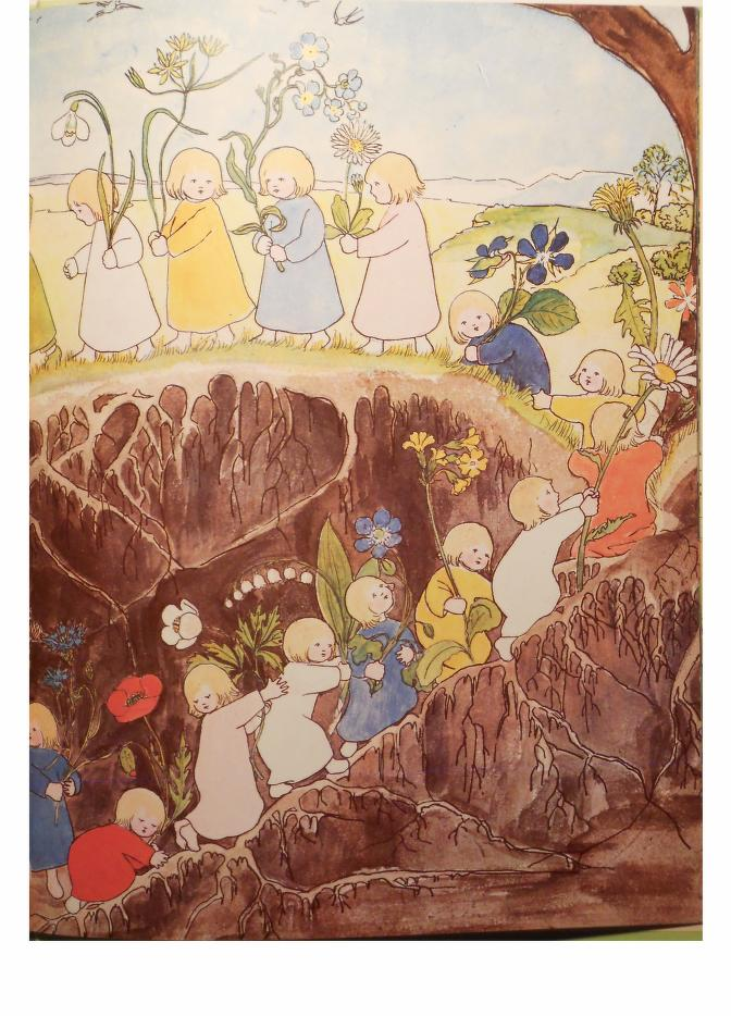- Olfers, Sibylee von. The Story of the Root-Children. 1906. The English version was published by Floris Books, Edinburgh in 1990 and the 5th impression is available from Internet Archive here. The illustrations are interesting. Wikipedia has a short biography of the author. She was a German art teacher and nun that created her picture books for her younger sister in the early 1900s. I wish all of her books were available on Internet Archive…even if they were the German editions…since I am most interested in her illustrations.