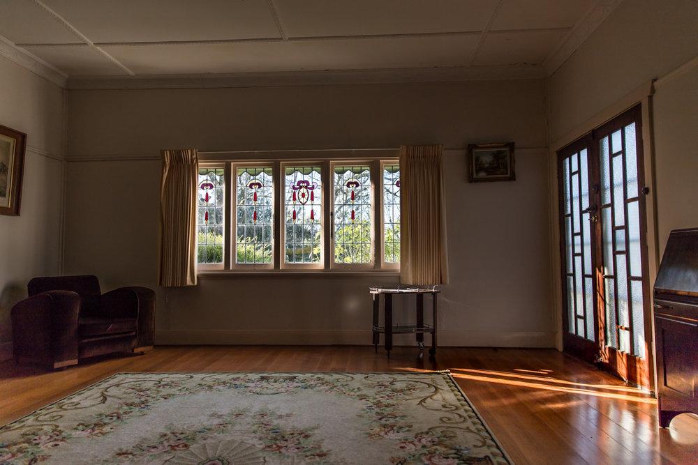 Sunlight streaming through lead light window Geelong home Geelong photographer Lauren McAdam