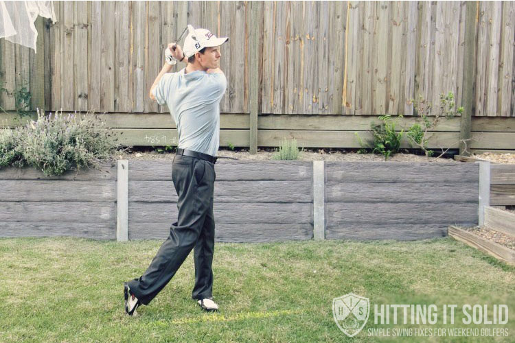 The correct golf weight shift leads to a perfect follow through like this
