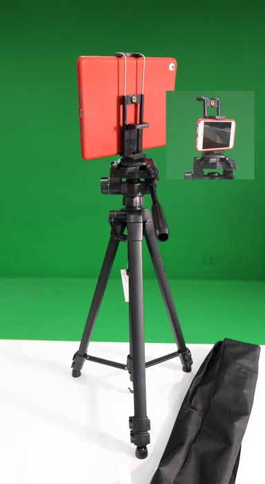 Tablet/Smart Phone/Camera Tripod (x5) - There are 5 durable and versitile tripods with caring cases. We also have a few less substantial tripods on the maker cart.