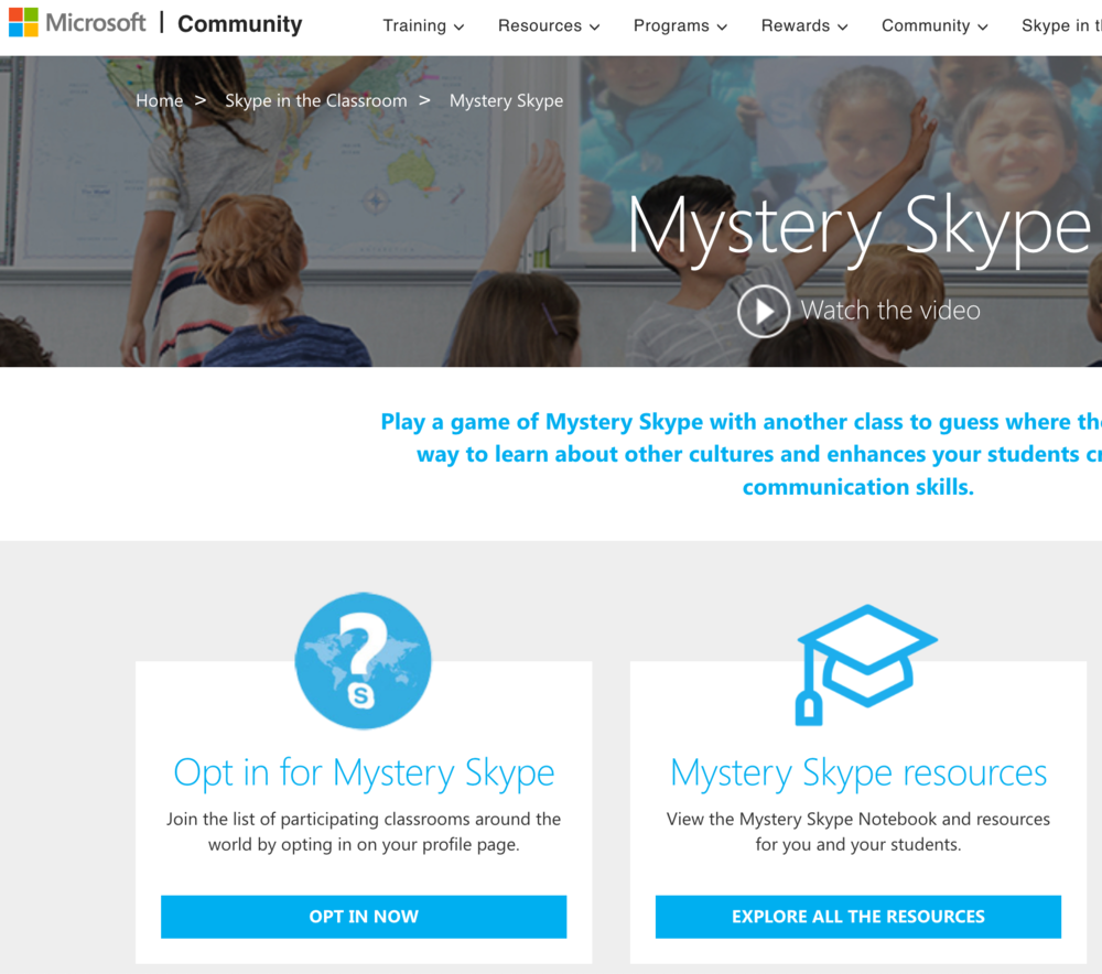 Mystery Skype  is a Microsoft tool that matches two schools from around the world to play a research game. The goal is to figure out where the other school is located by taking turns asking yes or no questions.