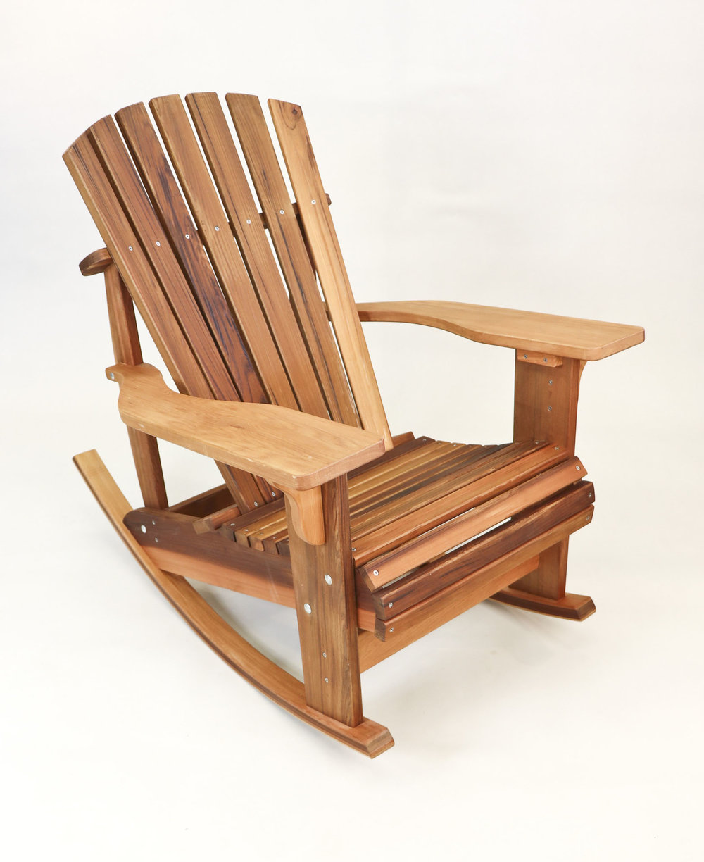 Adirondack - Made from Saint John's Abbey Arboretum OakStands three feet 7 inches highThree feet wideThree feet three inces deepAvailabe in both standard and rocking.Natural and Dark finishes.