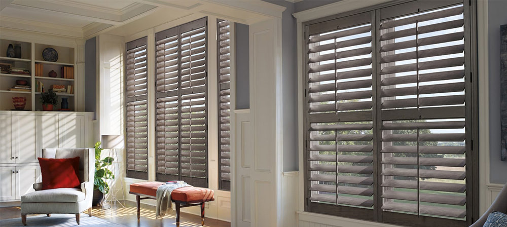 Why choose shutters for your home? - A classic plantation look. Exceptional craftsmanship and long-lasting finishes. We offer a versatile selection of wood, hybrid materials and polysatin™ compound construction shutters.