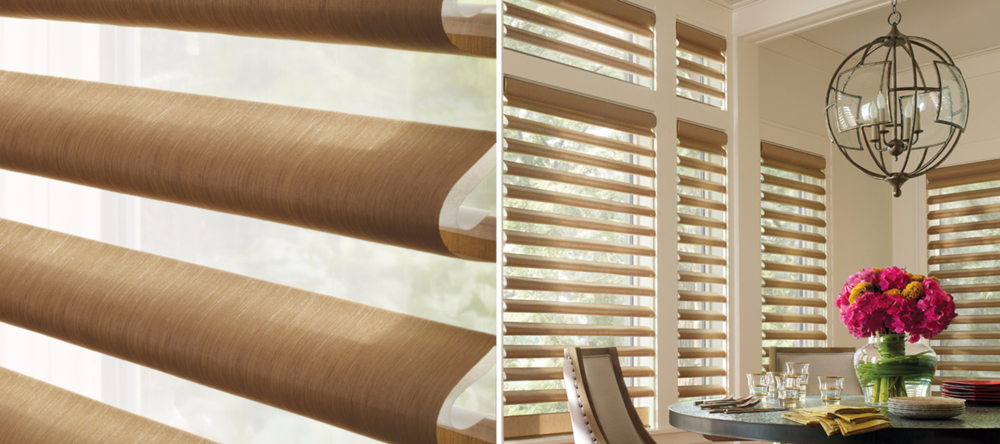 Pirouette - Our innovative Pirouette® shadings feature soft horizontal fabric vanes attached to a single sheer backing, allowing for enhanced views to the outside while maintaining privacy and the full beauty of the fabric appearance on the inside.