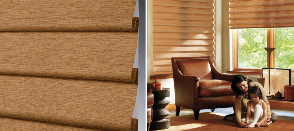 Vignette - A fashionable take on traditional Roman shades, our Vignette® and The Alustra® Collection of Vignette® Modern Roman Shades roll, stack, and traverse with consistent folds and no exposed rear cords for enhanced child and pet safety.