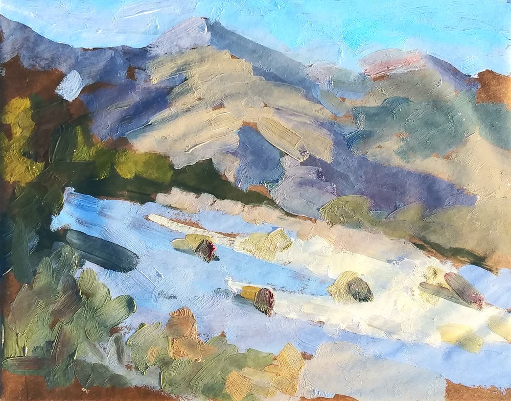 Day Two, sketch one. Snow on the ground in the mountains northeast of Phoenix.