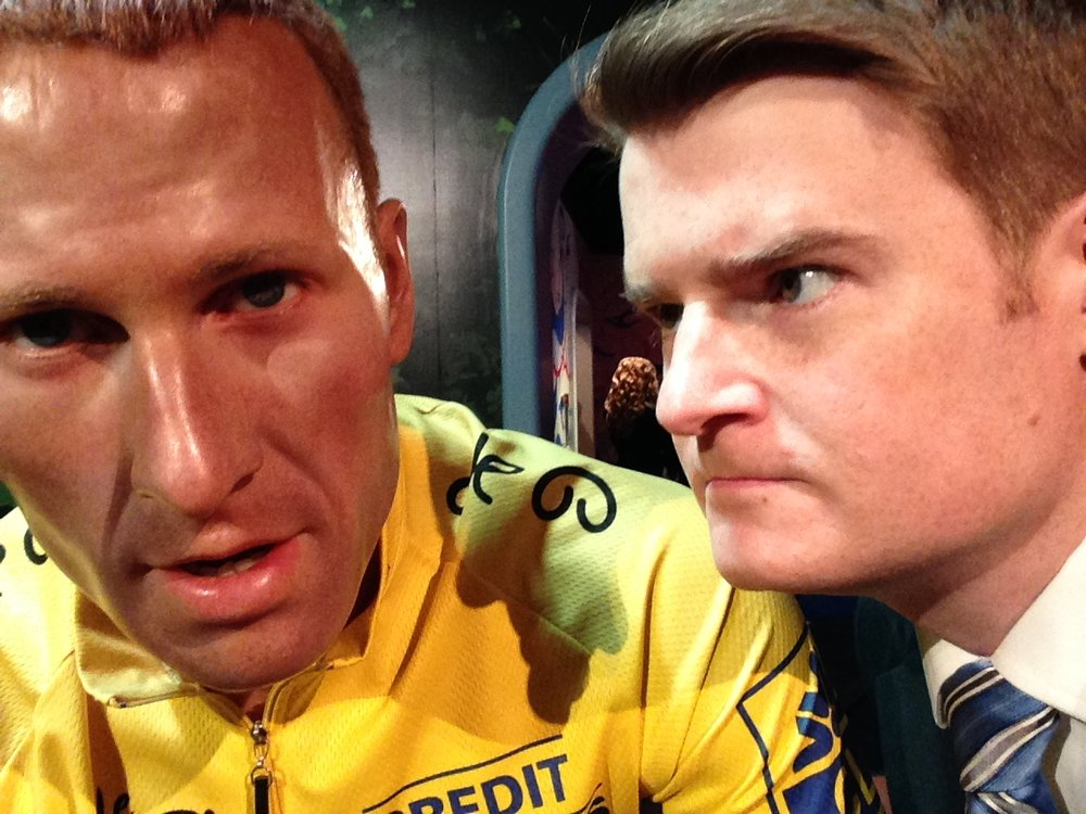 This is me and my former friend, former Canadian icon Lance Armstrong. I let him know that transparency and accountability are more than just buzzwords, they're principles that honourable people live by. Then I told him to go straight to hell.