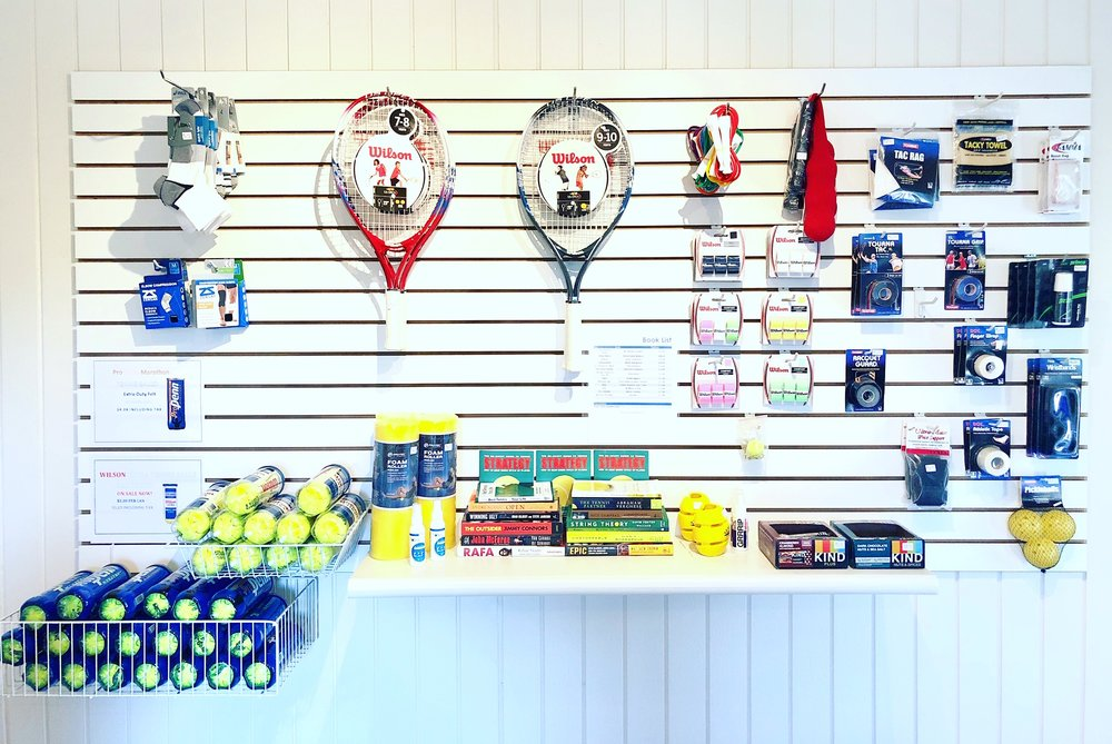 Pro Shop - The Pro Shop is open to the public, located on the mid level, there are tennis balls, club logo wear, grips, accessories, drinks, and snacks for purchase.Pro Shop hours:Monday – Friday: 8:30am-1:00pm & 2:00pm- 5:00pmSaturday: 8:00am – 11:00amSunday: ClosedPro Shop phone number: 760-942-9725